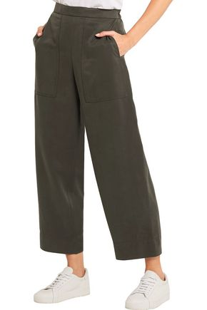 LEMAIRE Cropped silk-twill wide-leg pants