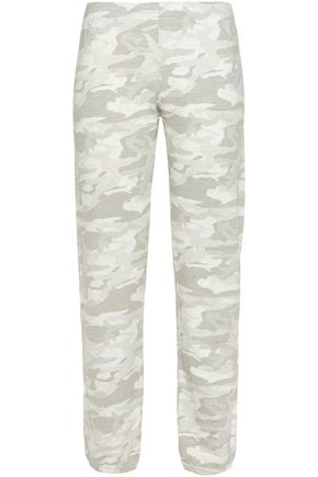 MONROW Printed cotton-blend jersey track pants