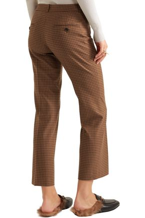 MICHAEL KORS COLLECTION Cropped checked wool-blend tweed straight-leg pants