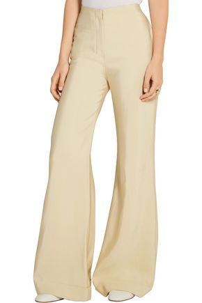 THE ROW Winona wool and silk-blend faille wide-leg pants