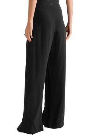 DION LEE Embellished pleated stretch-crepe wide-leg pants