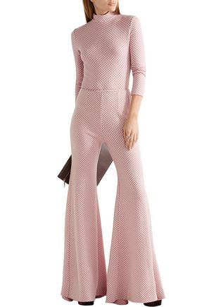 EMILIA WICKSTEAD Dario honeycomb-knit wool flared pants