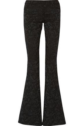 ALICE + OLIVIA Embroidered satin-jacquard flared pants