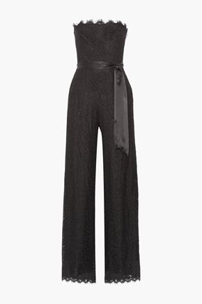 RACHEL ZOE Satin-trimmed corded lace jumpsuit