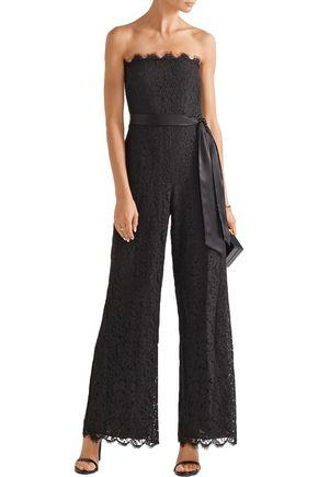 RACHEL ZOE Satin-trimmed corded lace jumpsuit