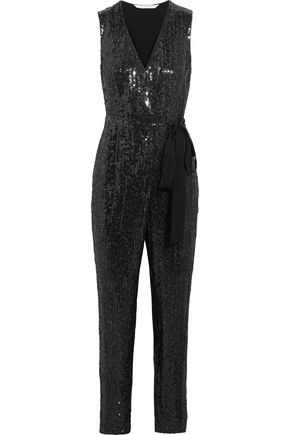 DIANE VON FURSTENBERG Orianna sequined silk-chiffon and satin-jersey jumpsuit