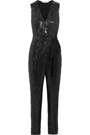 DIANE VON FURSTENBERG Orianna sequined silk-chiffon and satin-jersey jumpsuit