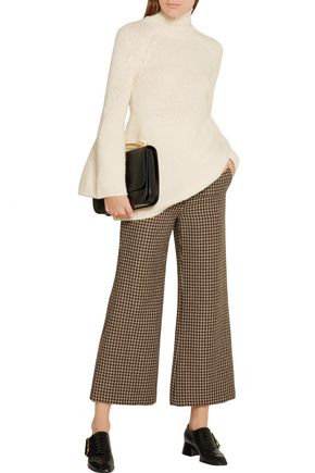 ROSETTA GETTY Cropped houndstooth wool flared pants
