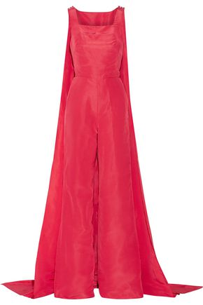 ROSIE ASSOULIN Superhero cape-back silk-faille jumpsuit