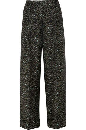 TOPSHOP UNIQUE Rosalind leopard silk-jacquard wide-leg pants
