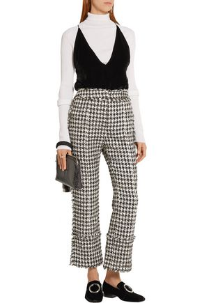 ERDEM Verity metallic cotton-blend tweed straight-leg pants