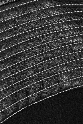 MUGLER Embroidered leather-trimmed crepe halterneck jumpsuit