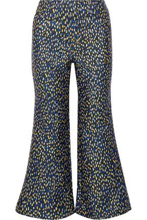 MERCHANT ARCHIVE Cropped metallic jacquard flared pants