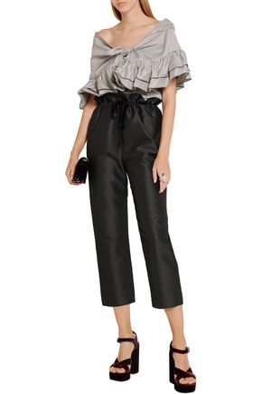 ISA ARFEN Cropped cotton and silk-blend straight-leg pants