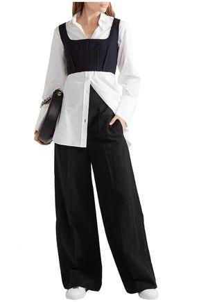 JOSEPH Brax linen blend-paneled wool wide-leg pants