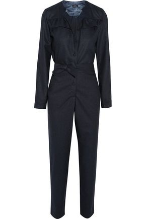 A.P.C. Ruffle-trimmed wool-flannel jumpsuit