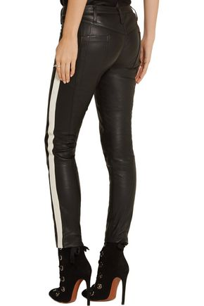 HAIDER ACKERMANN Grosgrain-trimmed leather skinny pants