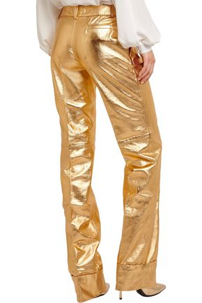 RONALD VAN DER KEMP Metallic leather flared pants