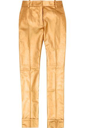 RONALD VAN DER KEMP Metallic leather flared pants