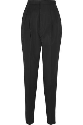 SAINT LAURENT Satin-trimmed wool slim-leg pants