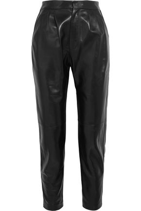 SAINT LAURENT Leather tapered pants