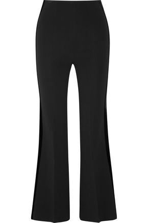 ROLAND MOURET Cropped velvet-trimmed stretch-ponte flared pants