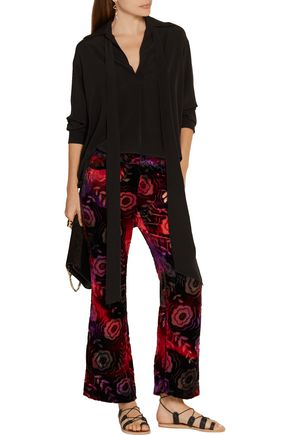 ANNA SUI Devoré-chiffon flared pants