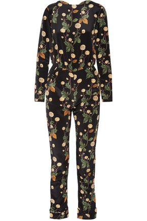 JOHANNA ORTIZ Johnny Cash open-back printed silk-satin jumpsuit