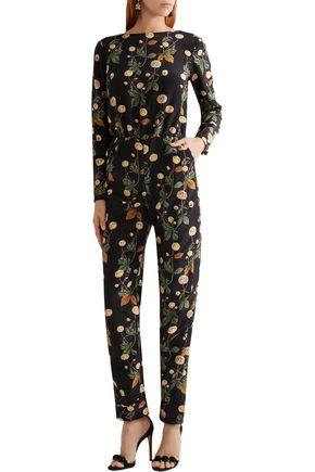 JOHANNA ORTIZ Johnny Cash open-back printed silk-satin jumpsuit