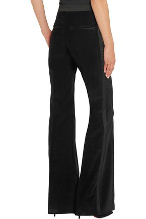 PALLAS Satin-trimmed corduroy straight-leg pants