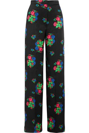 DURO OLOWU Floral-print silk-satin wide-leg pants