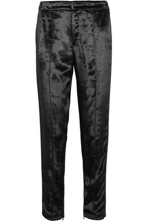 RAG & BONE Alpes crepe-trimmed velvet straight-leg pants