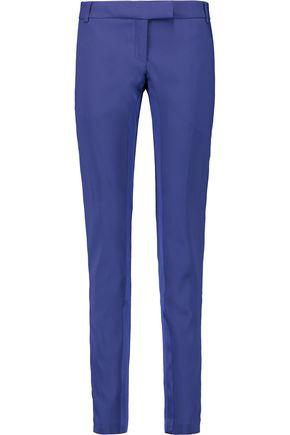 PIERRE BALMAIN Satin-trimmed crepe skinny pants
