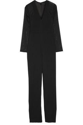 CUSHNIE ET OCHS Chiffon-paneled stretch-cady jumpsuit