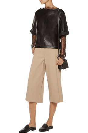 ALEXANDER WANG Cropped pleated cotton wide-leg pants