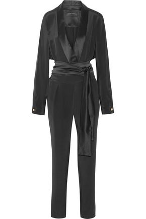 MICHAEL LO SORDO Wrap-effect satin-trimmed silk crepe de chine jumpsuit