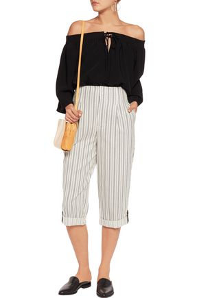 ALICE + OLIVIA Rey leather-trimmed striped cotton-twill culottes