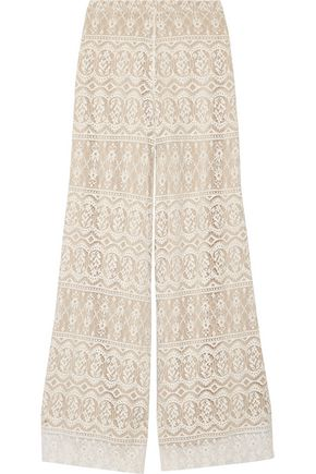 ALICE+OLIVIA Athena cotton-blend lace wide-leg pants