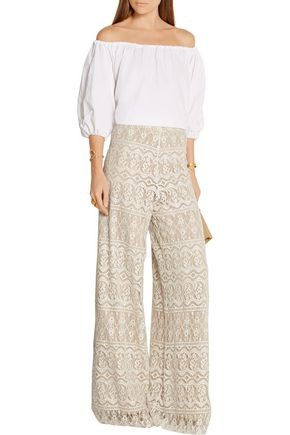 ALICE + OLIVIA Athena cotton-blend lace wide-leg pants