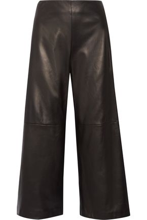 ADAM LIPPES Cropped leather wide-leg pants