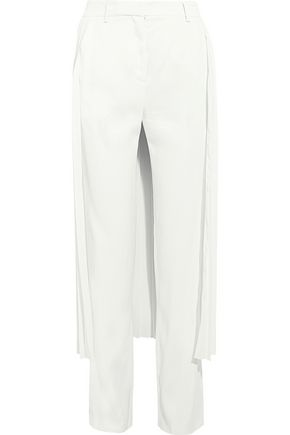 ADAM LIPPES Layered pleated georgette and crepe wide-leg pants