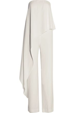ADAM LIPPES Strapless draped crepe jumpsuit