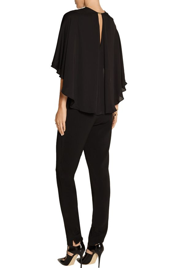 Cape-effect brushed-jersey jumpsuit   HALSTON HERITAGE   Sale up to 70% off    THE OUTNET