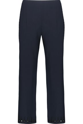 10 CROSBY DEREK LAM Cropped broderie anglaise-timmed crepe wide-leg pants