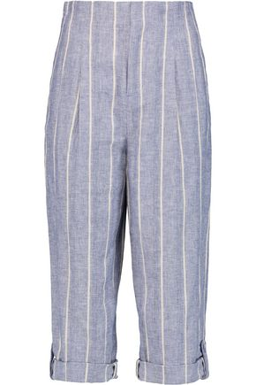 ALICE + OLIVIA Rey striped linen and cotton-blend culottes