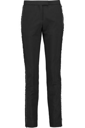 MAJE Fringed crepe skinny pants