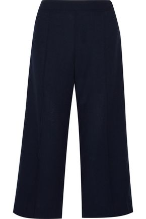 MOTHER OF PEARL Leanna cropped satin-trimmed wool-crepe wide-leg pants