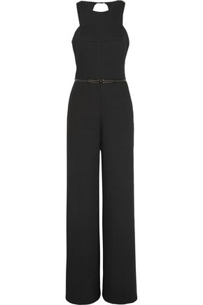 HALSTON HERITAGE Belted cutout crepe jumpsuit
