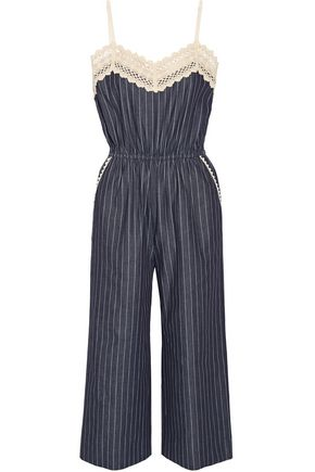GOEN.J Crochet-trimmed pinstriped denim jumpsuit