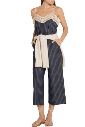 GOEN.J Crochet-trimmed pinstriped cotton jumpsuit